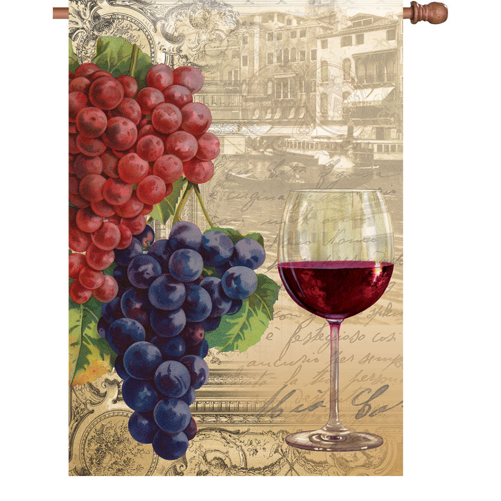 28 in. Vineyard House Flag - Vintage Wine