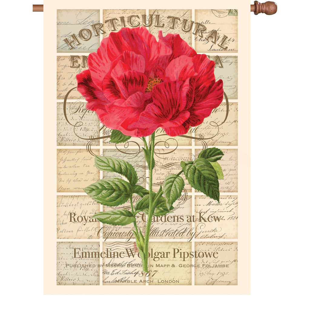 28 in. Vintage House Flag - Love Letter Rose