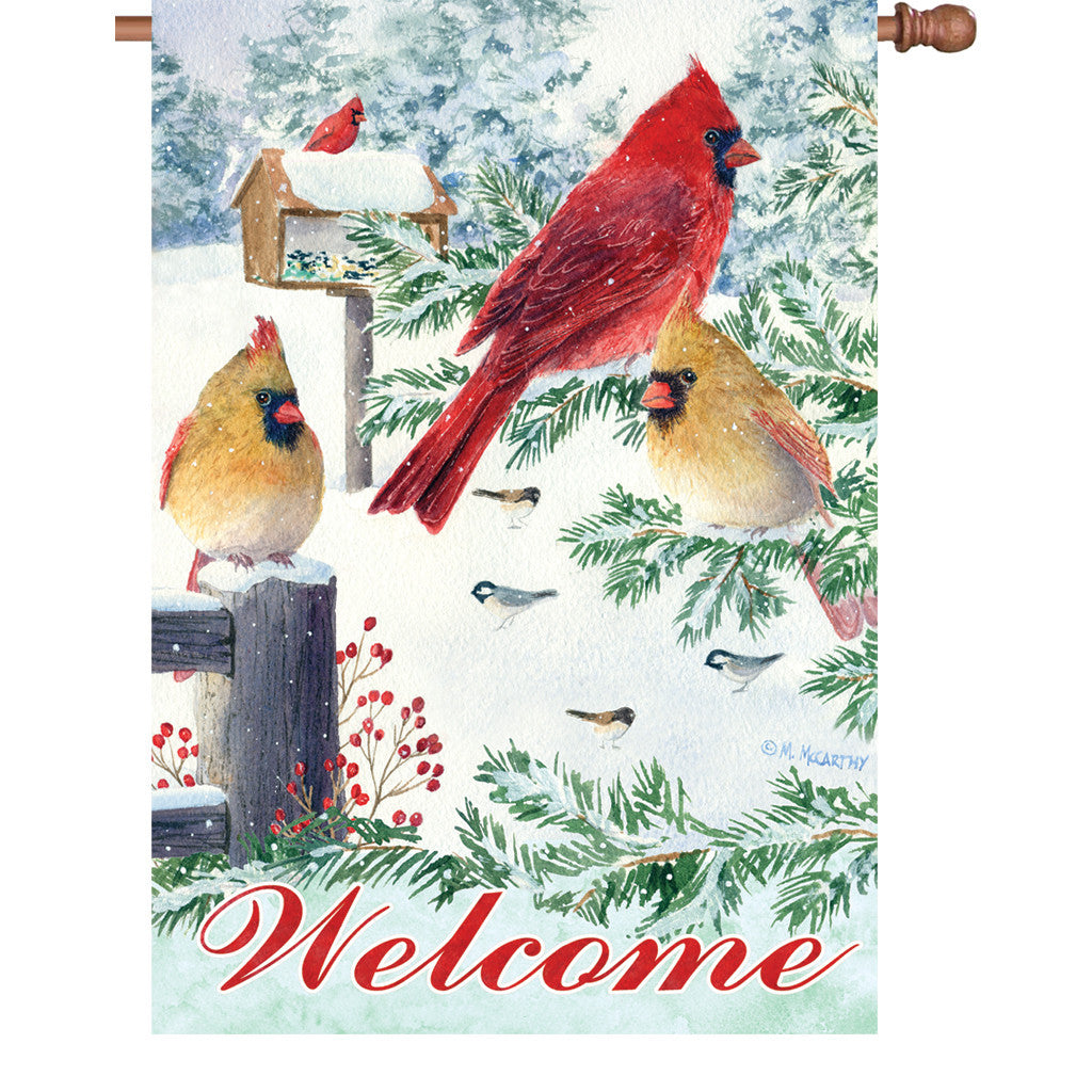 28 in. Winter Snow Bird House Flag - Snow Flurry Cardinals