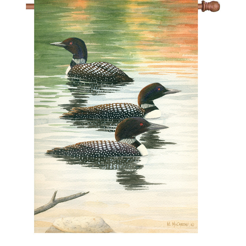 28 in. Loon House Flag - Late Summer Trio
