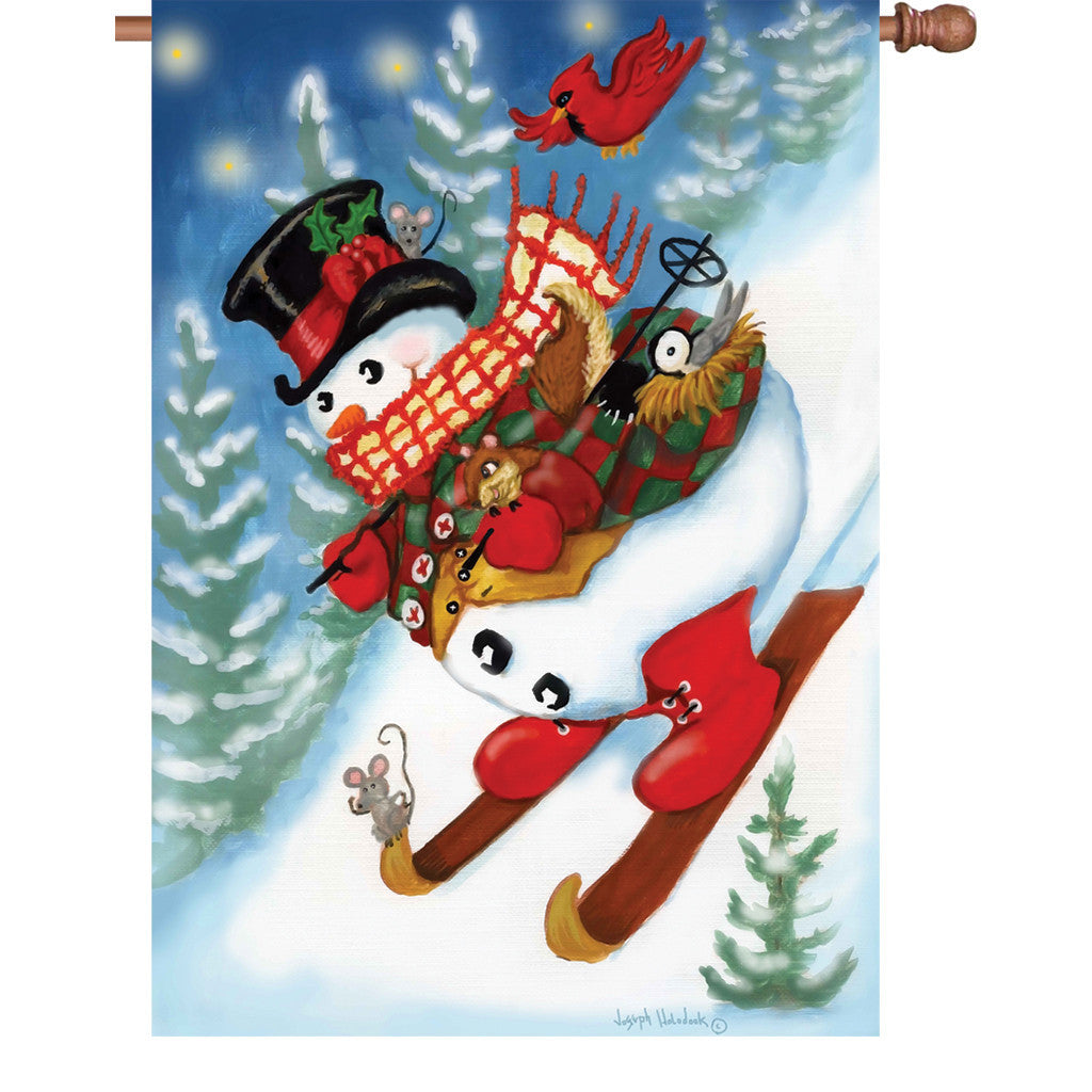 28 in. Christmas House Flag - Ski Party