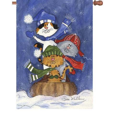 28 in. Christmas Cats House Flag - Sledding Friends