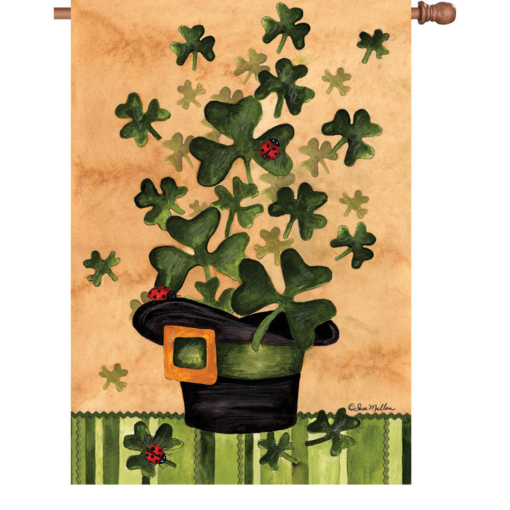 28 in. St. Patty's Day House Flag - Shamrock Burst