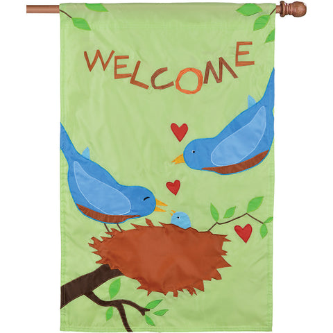 Double-Sided Bird Applique Flag - Bluebirds