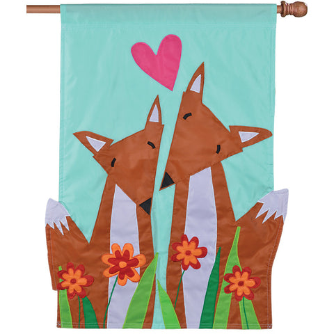 Double-Sided Applique Flag - Foxy Pair