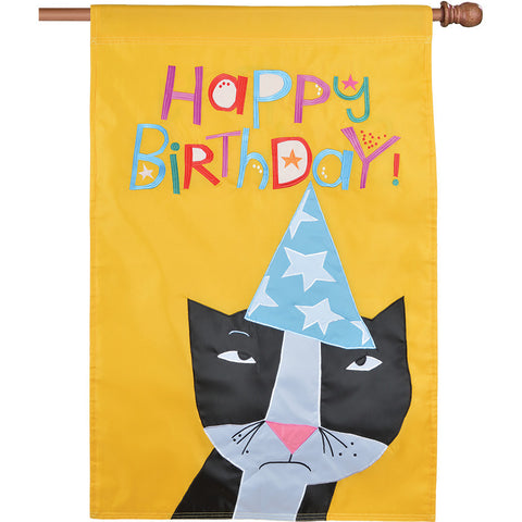 Double-Sided Cat Applique Flag - Birthday Kitty