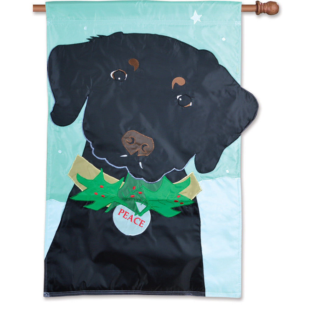 Double-Sided Dog Applique Flag - Christmas Black Lab