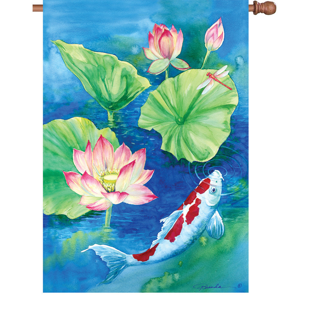 28 in. Lilly Pad Pond House Flag - Lotus Koi