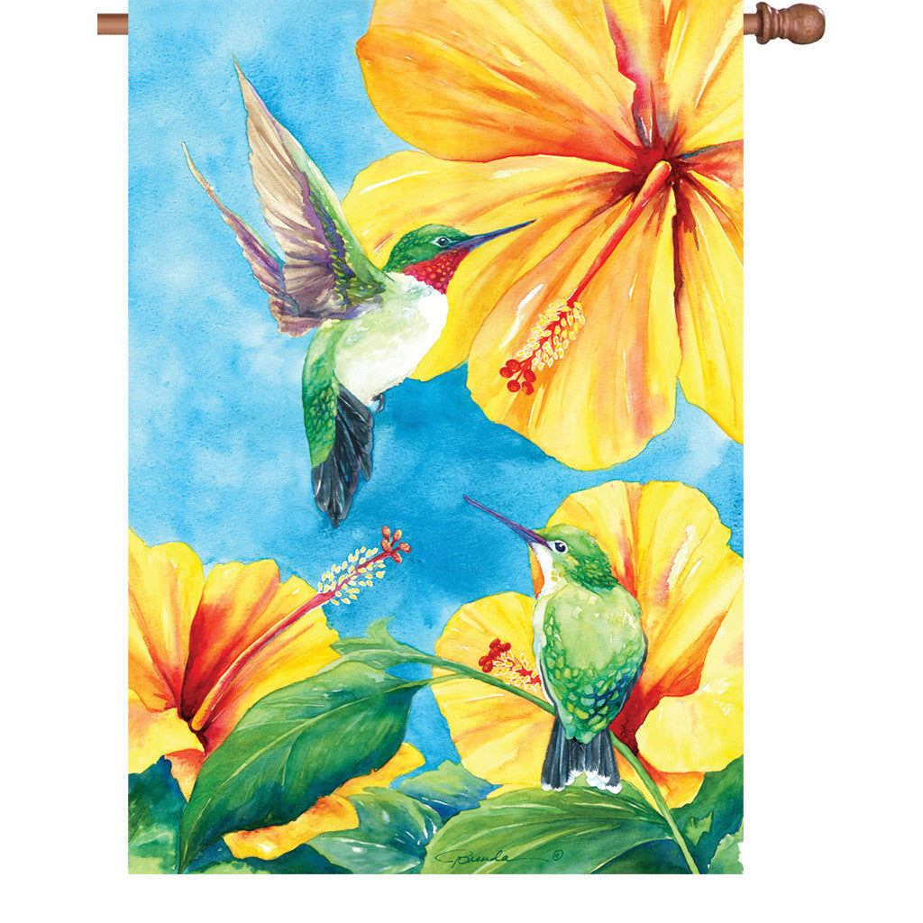 28 in. Bird House Flag - Hummingbird and Hibiscus
