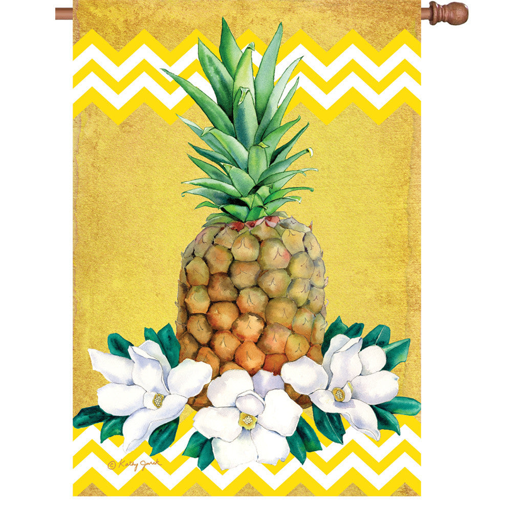 28 in. Tropical House Flag - Pineapple