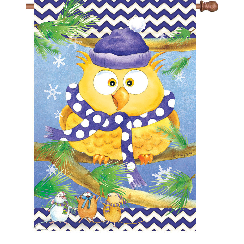 28 in. Christmas Bird House Flag - Winter Owl