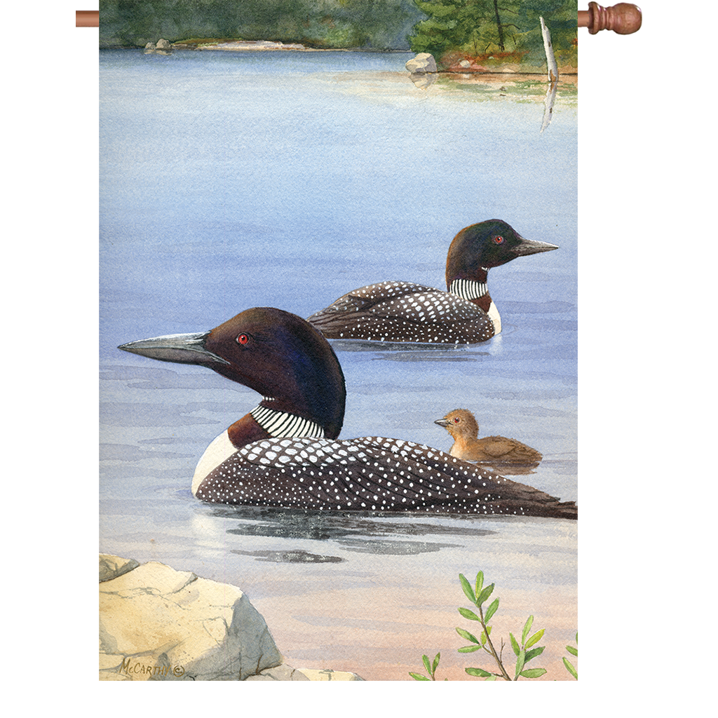 28 in. Water Bird House Flag - Loon Family