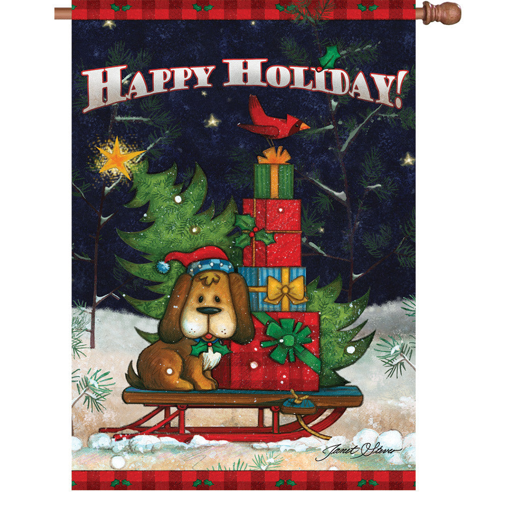 28 in. Christmas Dog House Flag - Doggone Happy Holiday