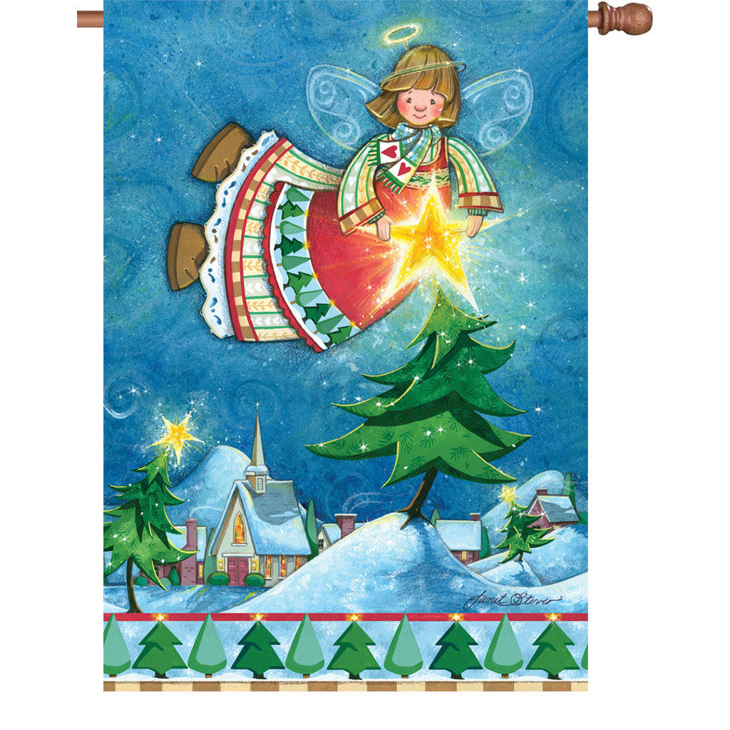 28 in. Christmas House Flag - Happy Christmas Angel