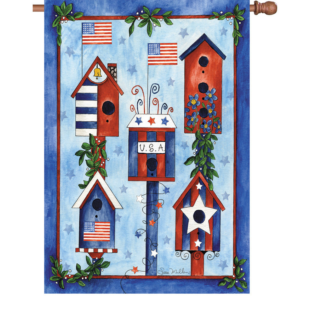 28 in. Patriotic/Memorial Day House Flag - Red, White and Blue Birdhouses