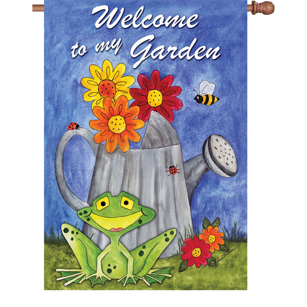 28 in. Green Frog House Flag - Welcome to My Garden