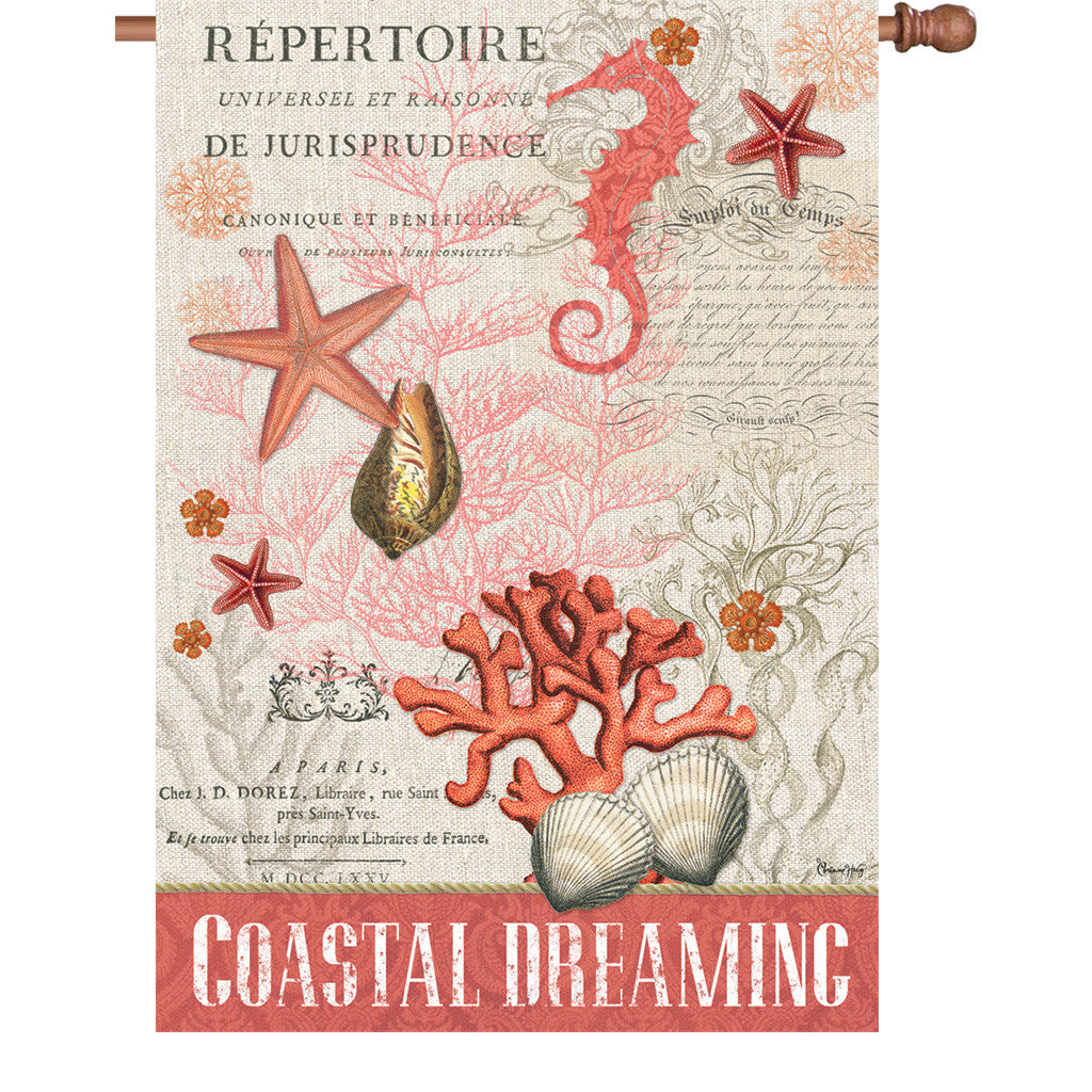 28 in. Vintage House Flag - Coastal Dreaming