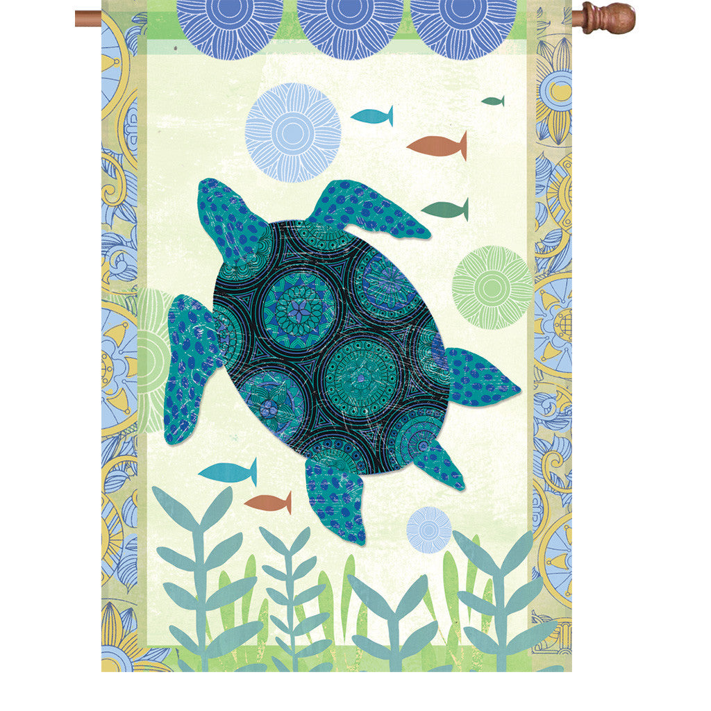 28 in. Patchwork House Flag - Blue Turtle