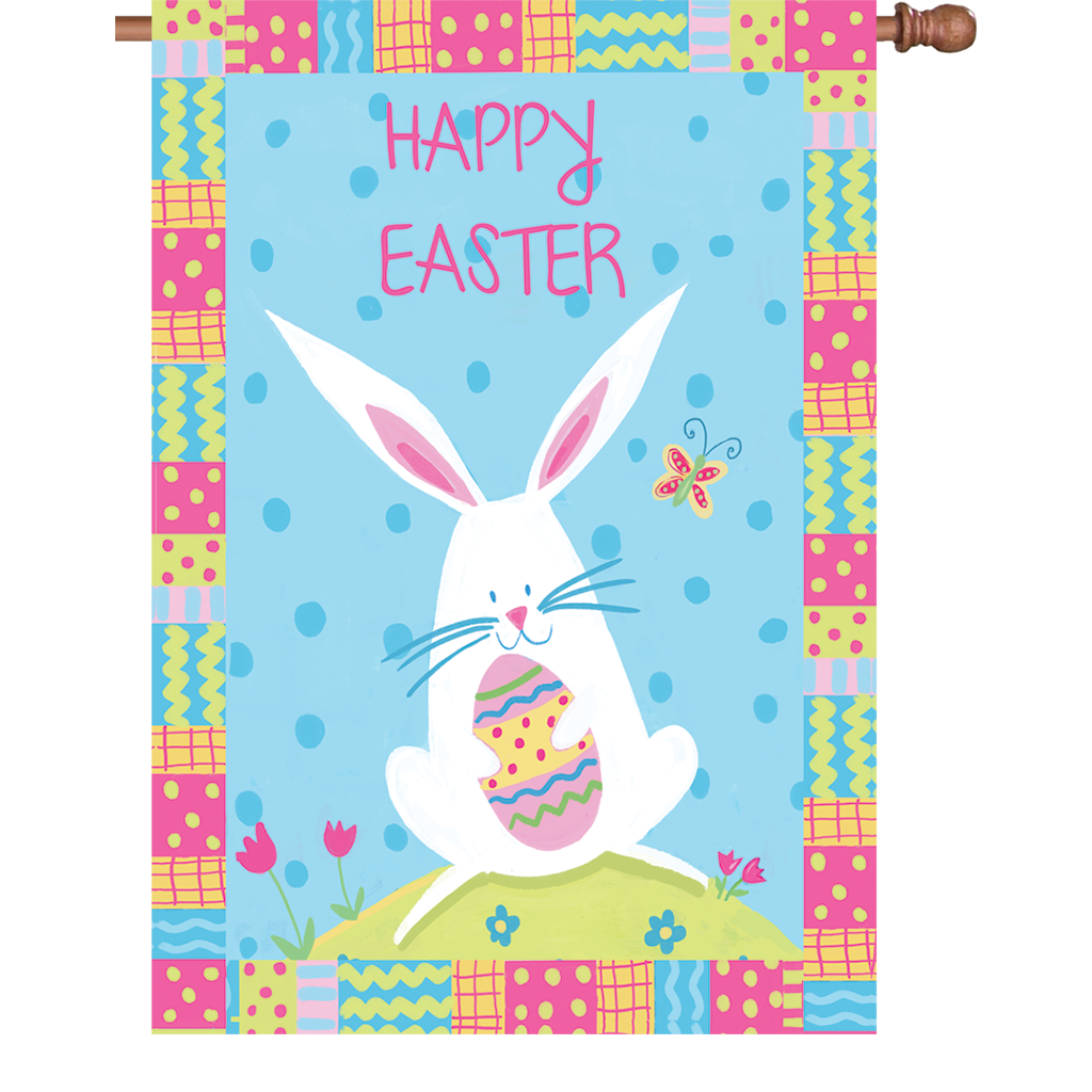 28 in. Easter House Flag - Bunny Easter