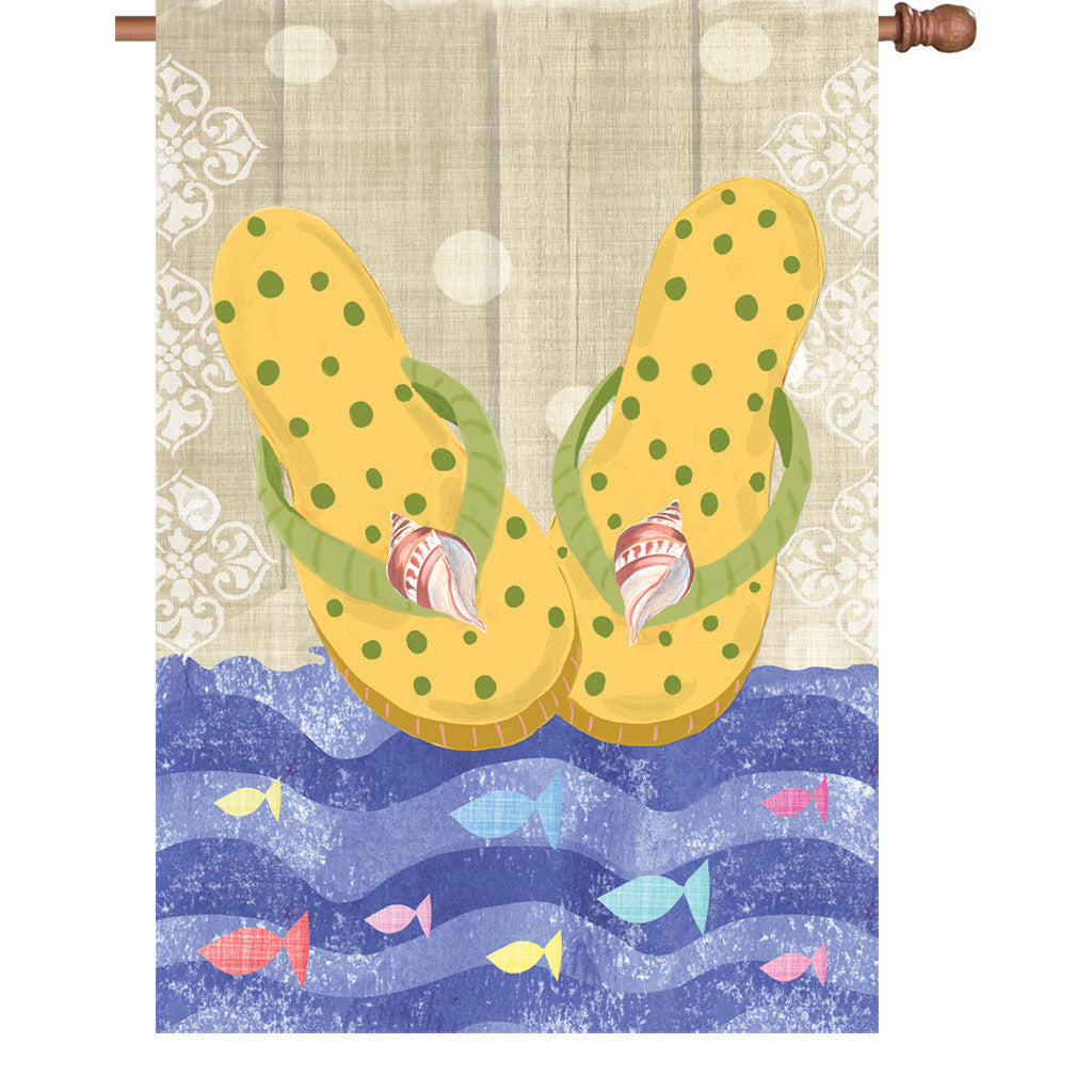 28 in. Tropical Beach House Flag - Yellow Flip Flops