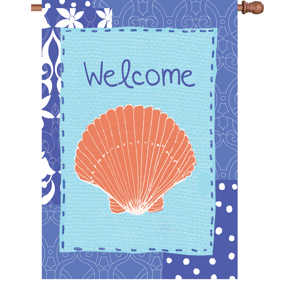 28 in. Welcome House Flag - Coastal Shell