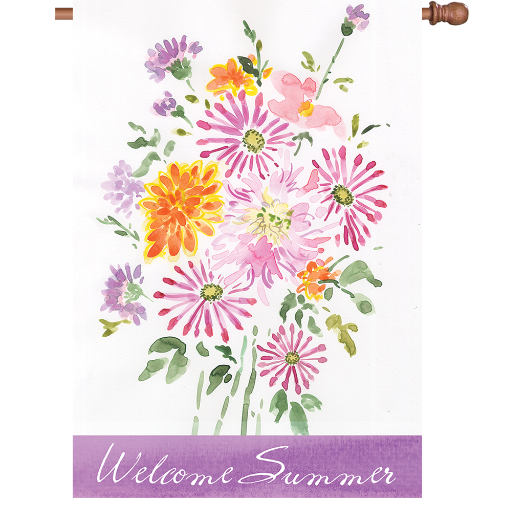 28 in. Summer Flowers House Flag - Summer Bouquet