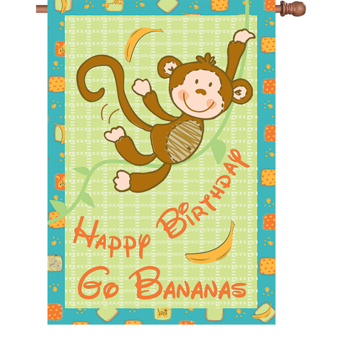 28 in. Party Monkey House Flag - Go Bananas!
