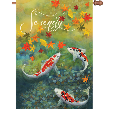 28 in. Koi Pond House Flag - Autumn Pond