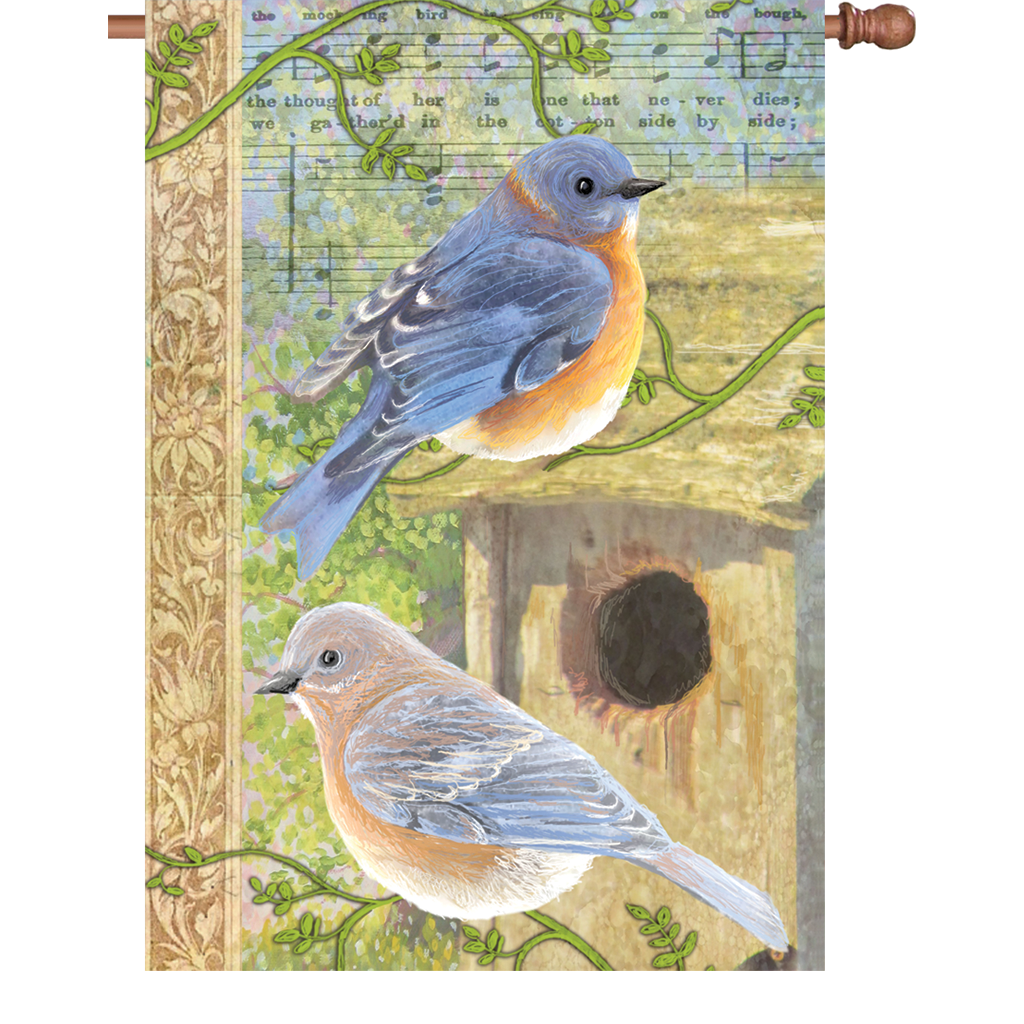 28 in. Vintage House Flag - Musical Bluebirds