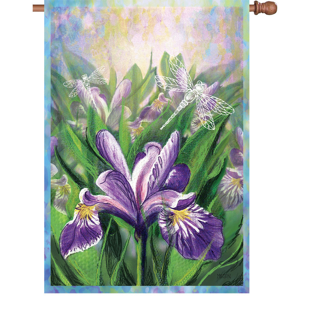 28 in. Flowers House Flag - Blue Iris