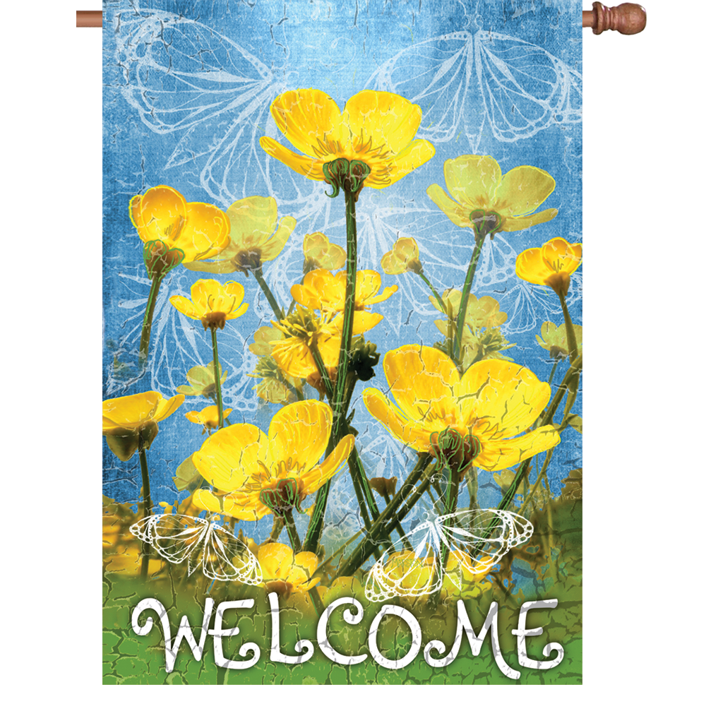 28 in. Flower House Flag - Buttercups Welcome