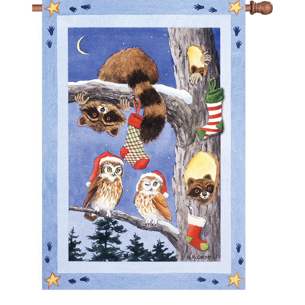 28 in. Christmas Critters House Flag - Woodland Stocking