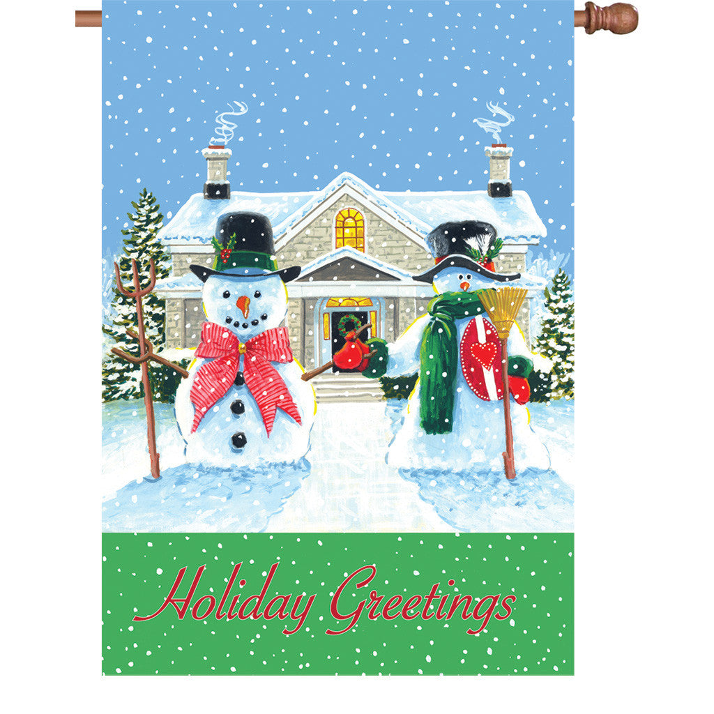 28 in. Holiday Greetings House Flag - American Snowman