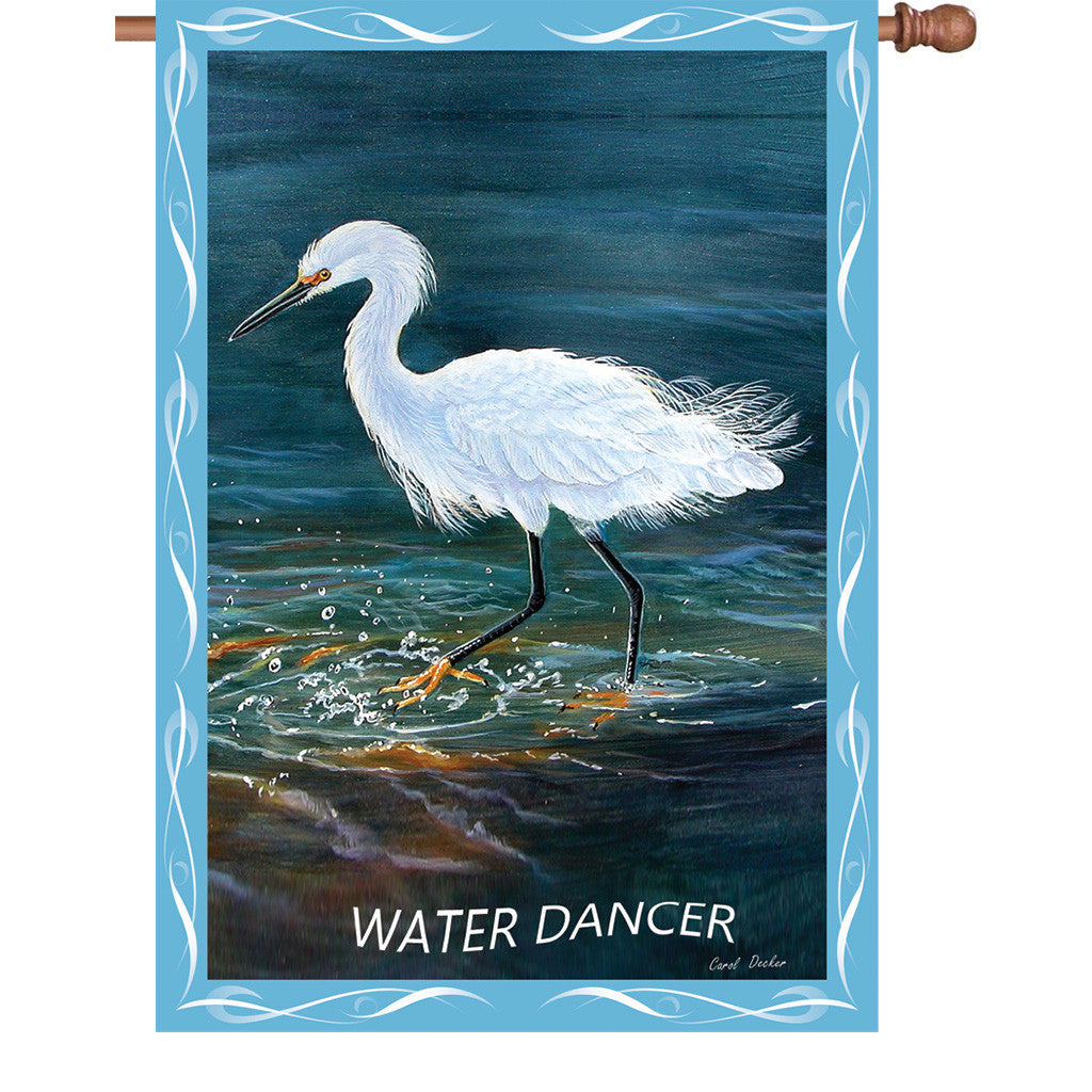 28 in. Egret House Flag - Water Dancer