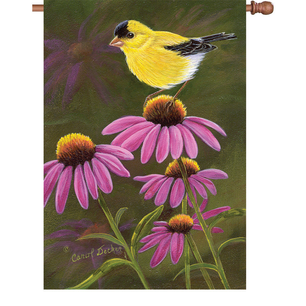 28 in. Summertime Bird House Flag - Goldfinch on Cone Flowers