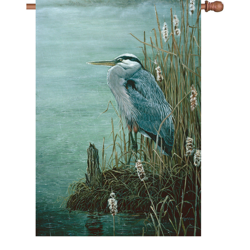 28 in. Blue Heron Bird House Flag - Rainy Day