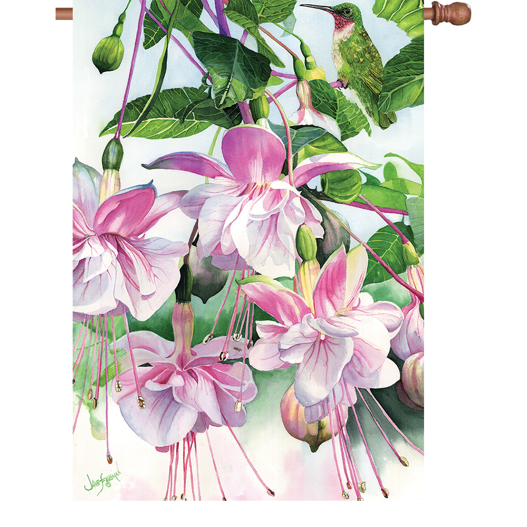 28 in. Spring Flowers House Flag - Window on the World