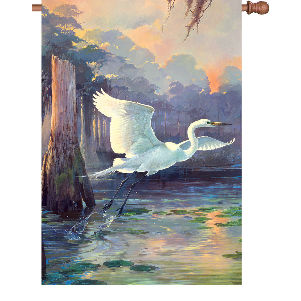 28 in. Marsh Bird House Flag - Heron Sunrise