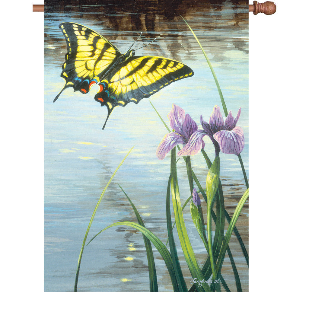 28 in. Butterfly House Flag - Swallowtail & Iris