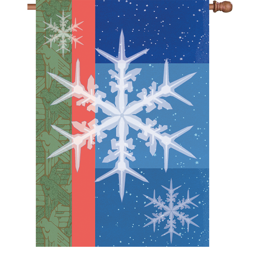 28 in. Christmas House Flag - Snowflakes