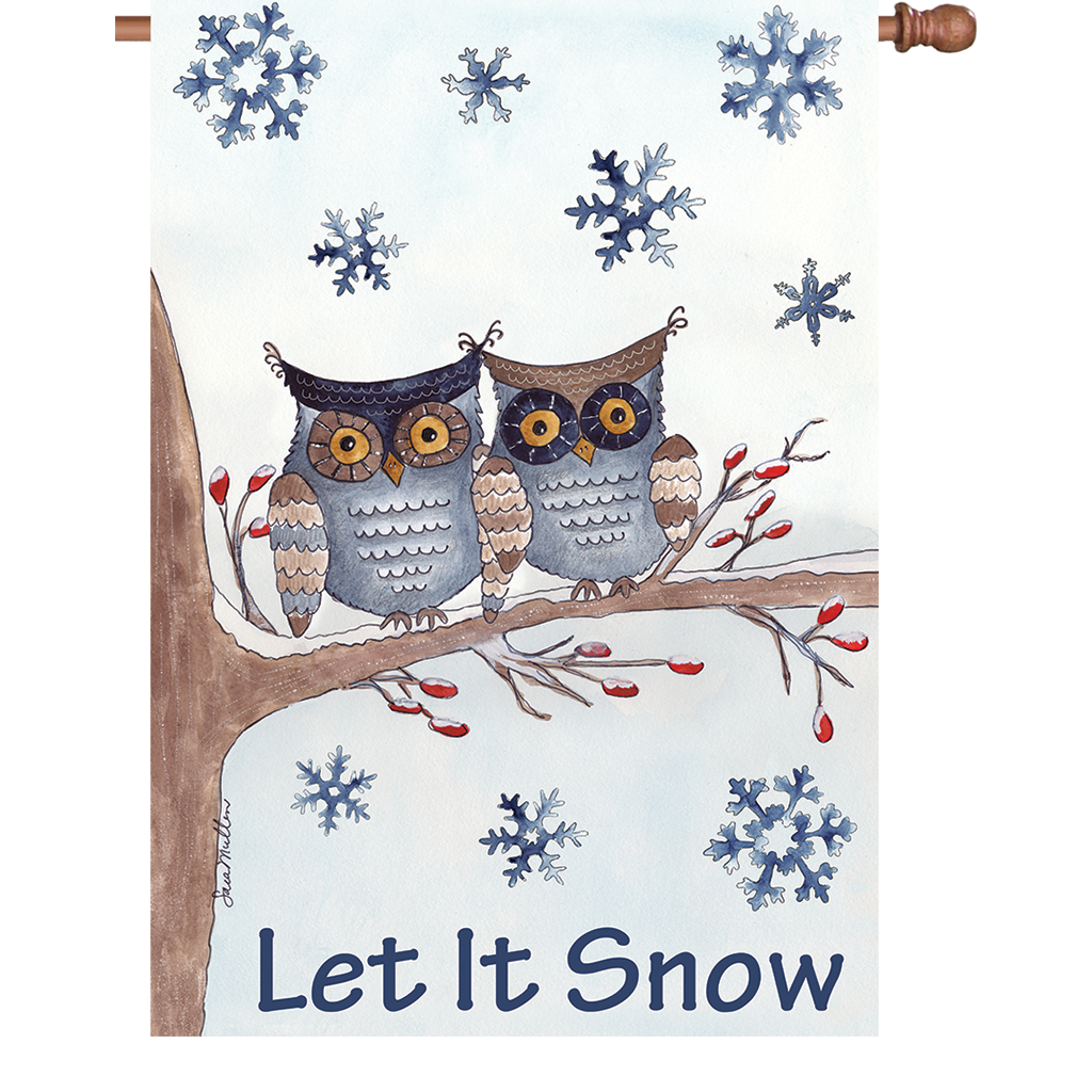 28 in. Winter Snow Bird House Flag - Owls in the Snow