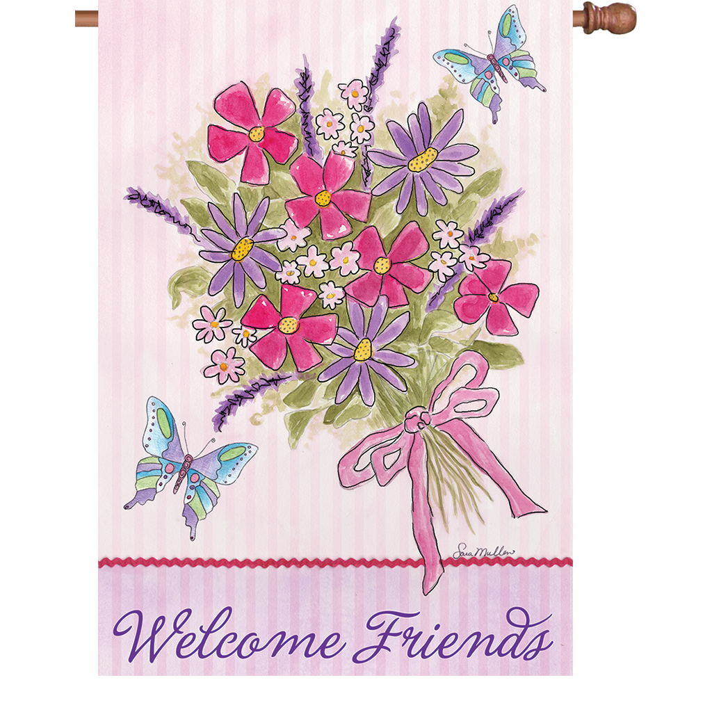 28 in. Welcome House Flag - Bouquet for Friends