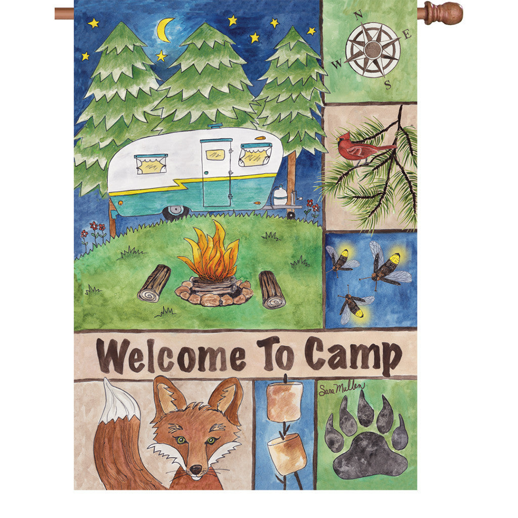 28 in. Camping House Flag - Welcome to Camp