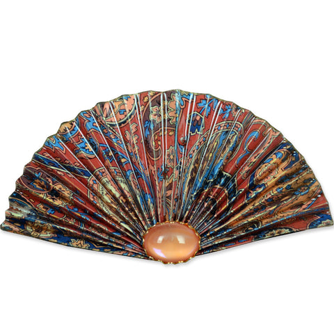 Red/Blue/Tan Fan Brooch