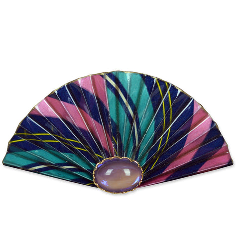 Pink/Turqoise/Blue Fan Brooch