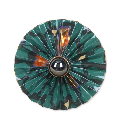 Green/Black/Copper Circular Fan Brooch