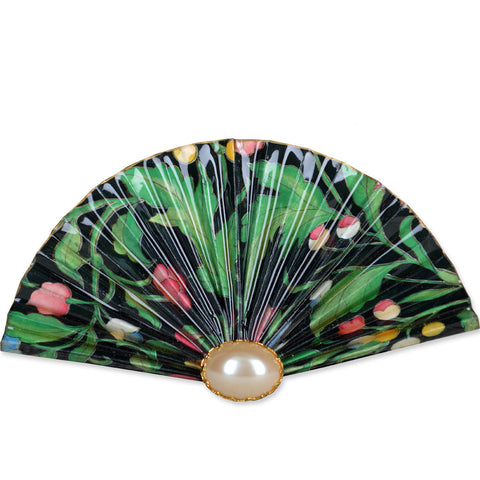 Green/Pink/Yellow/Black Fan Brooch