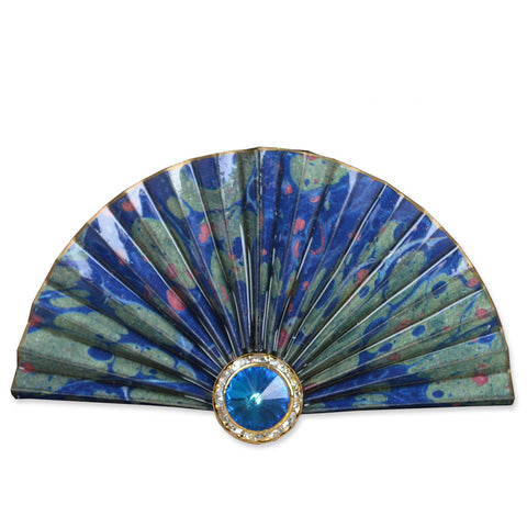 Blue/Green Fan Brooch