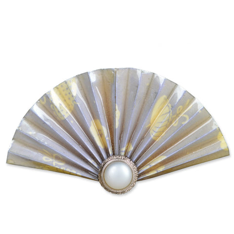 Yellow/Grey Fan Brooch