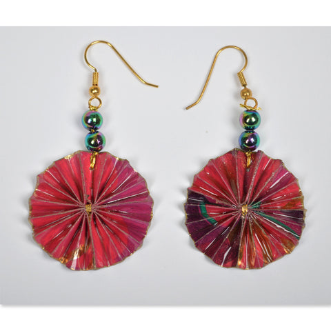 Red/Purple/Gold Fan Earrings